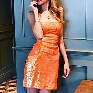 Orange sequin mini dress. Small